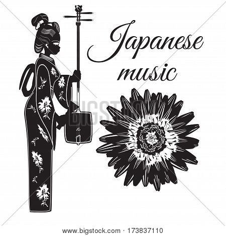 Vector japanese music template. Musician girl with shamisen string musical instrument. Chrysanthemum flower symbol of Japan. Flat style design elements.