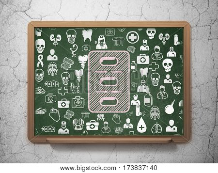 Healthcare concept: Chalk Pink Pills Blister icon on School board background with  Hand Drawn Medicine Icons, 3D Rendering