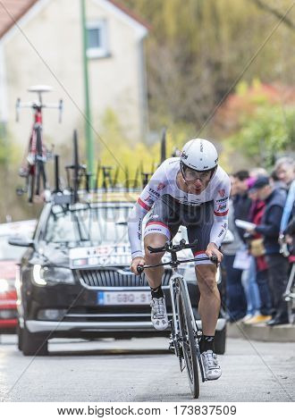 Conflans-Sainte-HonorineFrance-March 62016: The Italian cyclist Niccolo Bonifazio of IAM Cycling Team riding during the prologue stage of Paris-Nice 2016.