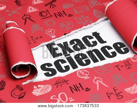 Science concept: black text Exact Science under the curled piece of Red torn paper with  Hand Drawn Science Icons, 3D rendering