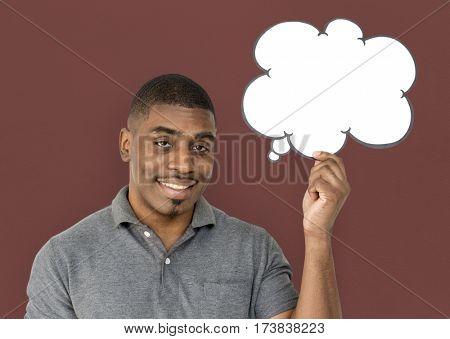 African descent man is holding speech bubble