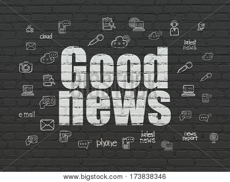 News concept: Painted white text Good News on Black Brick wall background with  Hand Drawn News Icons