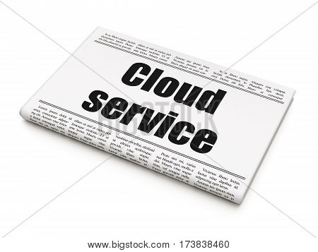 Cloud computing concept: newspaper headline Cloud Service on White background, 3D rendering