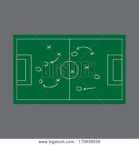 Realistic blackboard drawing a soccer or football game strategy. Blackboard vector
