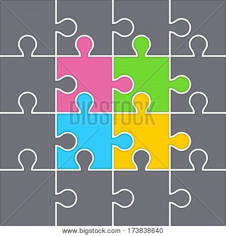 Gray Puzzles form an Abstract Background. Middle Consists from Four Color Puzzles.