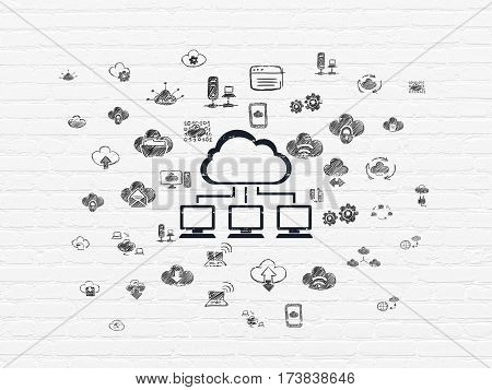 Cloud computing concept: Painted black Cloud Network icon on White Brick wall background with  Hand Drawn Cloud Technology Icons