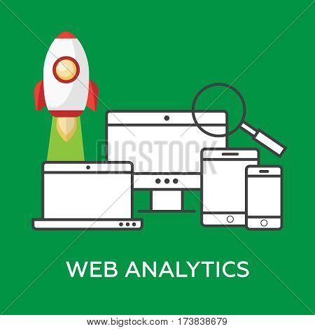 Web analytics information and website development flat. Web analytics vector