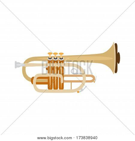 Trumpet isolated on white background vector illustration. Wind brass musical instrument.