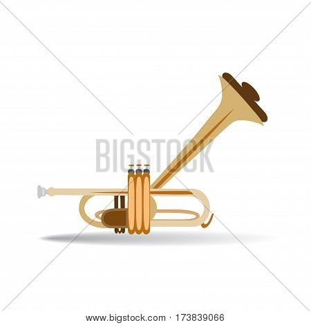 Trumpet isolated on white background vector illustration. Wind brass musical instrument in flat style.
