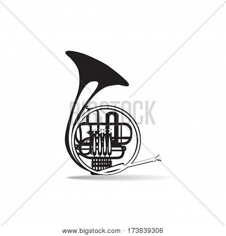 Vector illustration of french horn isolated on white background. black and white wind brass musical instrument flat style design.