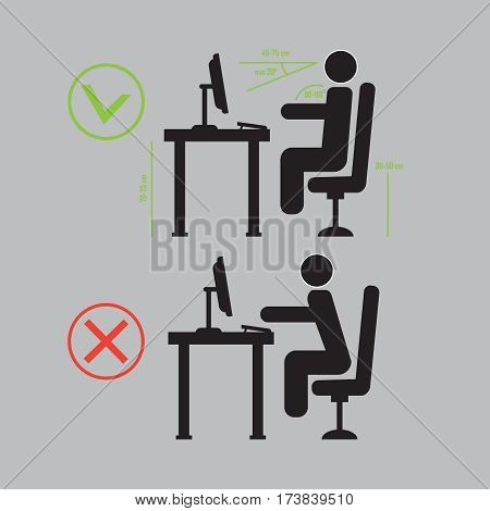 Incorrect and Correct back sitting position vector