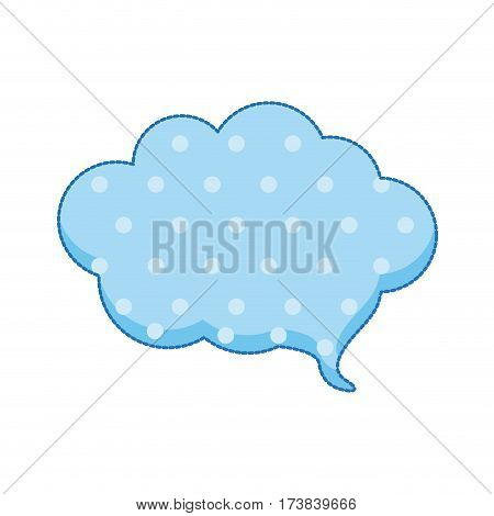 sticker callout for dialogue shape of cloud with blue background and dots vector illustration