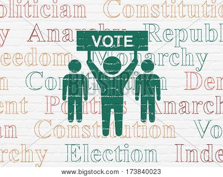 Politics concept: Painted green Election Campaign icon on White Brick wall background with  Tag Cloud