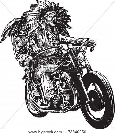 An hand drawn vector freehand sketching. Native American couple lovers drive a motorycle. (The bike is not specific brand - something as a common chopper.)