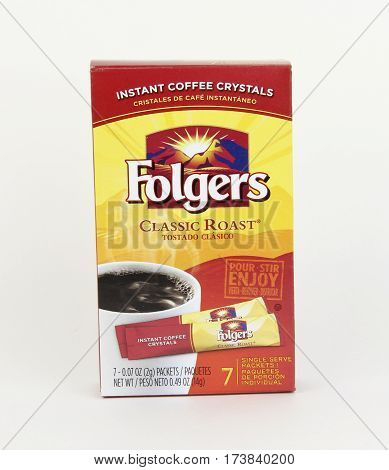 Spencer Wisconsin February 28 2017 Box of Folgers instant coffee Folgers is an American brand of coffee founded in 1850