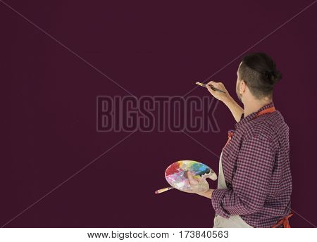 Man Artist Painting Illustration Palette Brushes Studio
