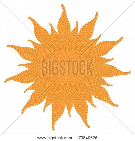 Orange abstract sun shape with inside power waves isolated on white background