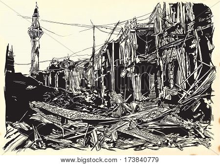 An hand drawn vector illustration - War place. Ruins of an middle east town city. Drawing on old paper. Islamic Muslim World.