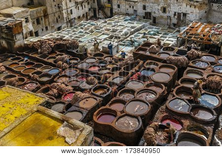 Highly detailed image of Tannery in Fez Morocco