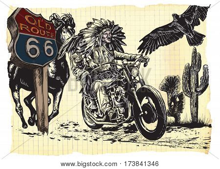An hand drawn vector freehand sketching. Native American couple lovers drive a motorycle. Paper riders. (The bike is not specific brand - something as a common chopper.)