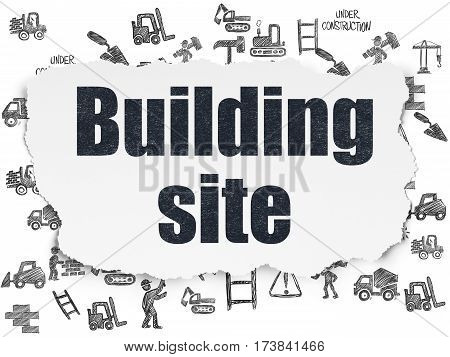 Building construction concept: Painted black text Building Site on Torn Paper background with  Hand Drawn Building Icons