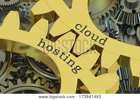 cloud hosting concept on the gearwheels 3D rendering