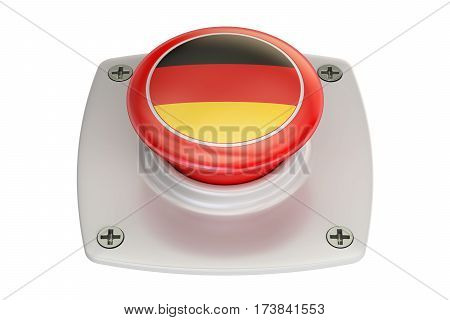 Germany flag push button 3D rendering on white