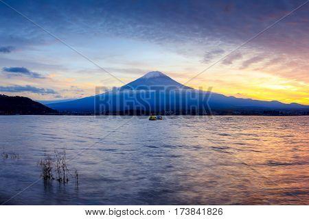 Mt fuji at lake kawaguchi after sunset Japan