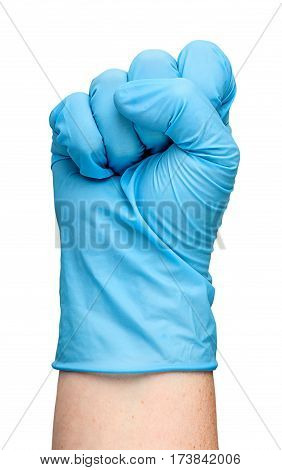 Hand in blue latex glove clenched into a fist isolated on white background