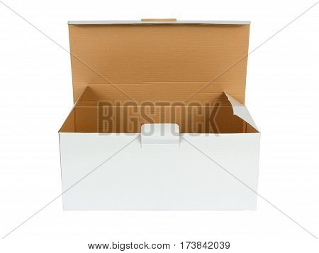 White open carton box on white background
