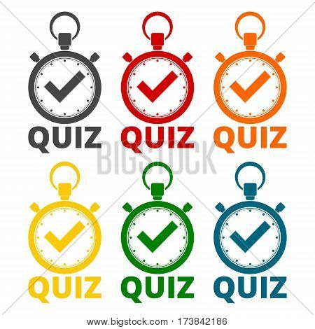Simple Quiz icons set on white background
