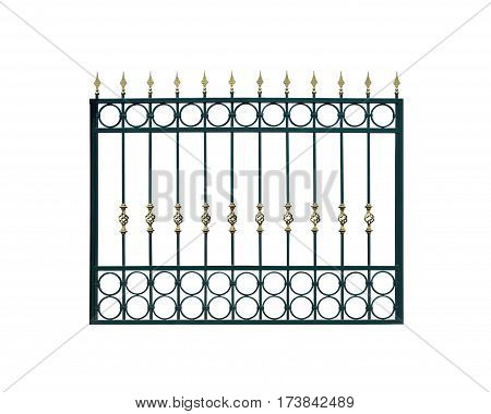 Decorative, metal fencing. Isolated over white background.