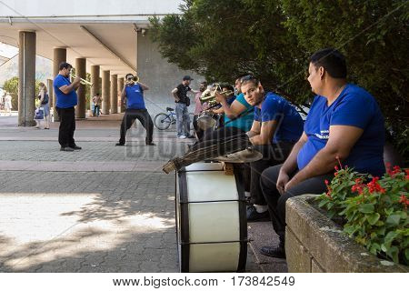 PANCEVO SERBIA - AUGUST 1 2015:Roma music band rehearsing before a wedding performance