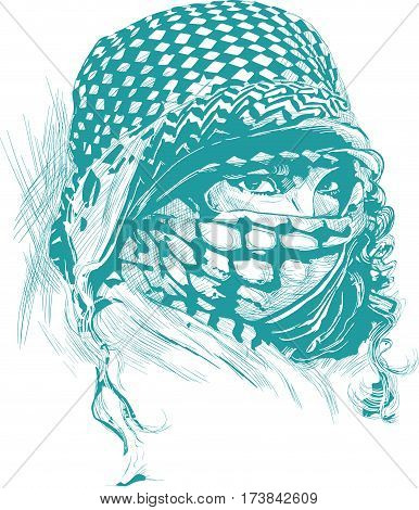 An muslim woman with big eyes wearing a niqab portrat. An hand drawn vector illustration. - - - Note: This is not a real person - - -