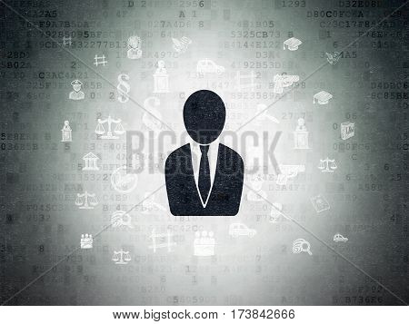 Law concept: Painted black Business Man icon on Digital Data Paper background with  Hand Drawn Law Icons