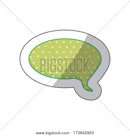 callout for dialogue shape of sphere sticker with green background and dots vector illustration
