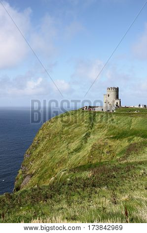 Cliffs of Moher and O`Brien`s Tower. County Clare, Ireland