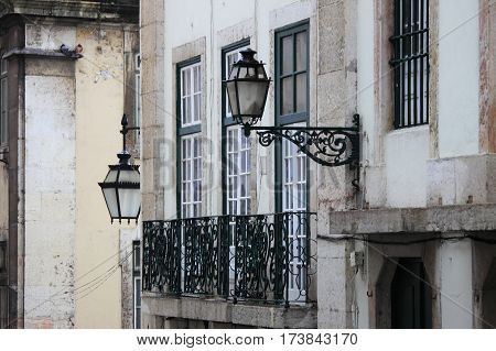 Cityscape of Lisbon with windows and street lamps. Portugal
