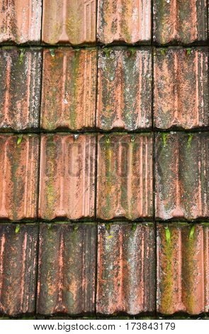 Old red roof clay tiles in Portugal