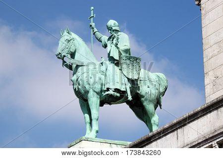 Equestrian Statue of Saint Louis on the Basilica Sacre Coeur in Paris, France