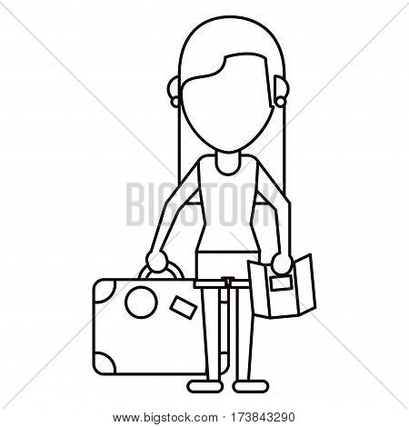 girl map travel suitcase thin line vector illustration eps 10