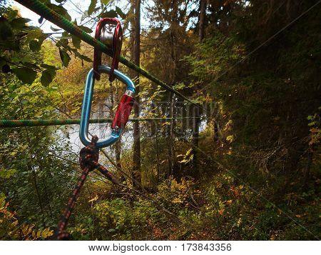 Zip line. Autumn nature scene. Nature background.