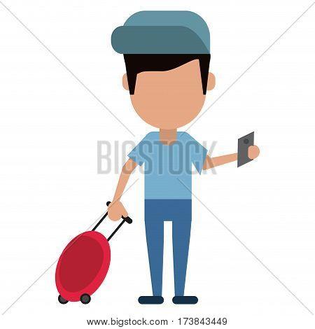 man traveling passport dragging luggage vector illustration eps 10