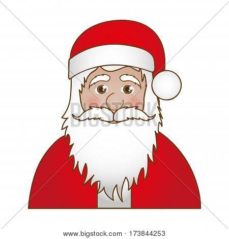 half body cartoon santa claus portrait icon vector illustration