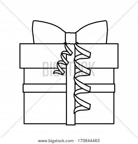 silhouette gift box with knot ribbon vector illustration