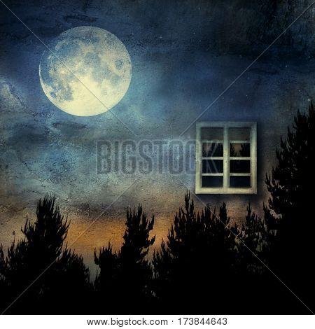 Artistic surreal imagine representing a window into nature at night