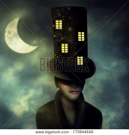 Surrealist image representing a portrait of a woman character with a high cylinder with windows in a night sky with half moon