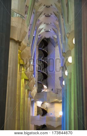 BARCELONA SPAIN - MARCH 12 2016: The interior of La Sagrada Familia. Designed by Gaudi the cathedral is being build since 19 March 1882 and is still under construction