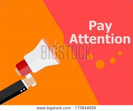 Flat Design Business Concept. Pay Attention. Digital Marketing Business Man Holding Megaphone For We