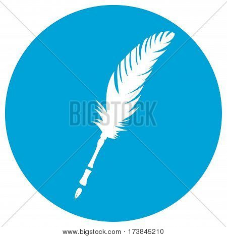 Isolated silhoutte of a feather on a sticker, Vector illustration
